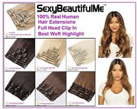 100% Real Human Hair Extensions,Clip In Full Head Thick Deluxe-SexyBeautifulMe®