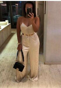 ZARA women's champagne crinkle plisse wide legs cross back jumpsuit size M BNWOT
