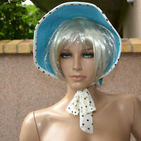 Chapeau capeline Femme visiere bleu pois vintage taille unique Tara zaza2cats