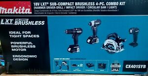 Makita 18V LXT BL Li-Ion Sub-Compact 4-Tool Combo Kit (1.5 Ah) CX401SYB New