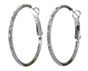 Crystals From Swarovski Fantastic Hoop Earrings Rhodium Plated Authentic 7219a