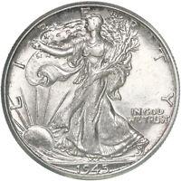 1945 D Walking Liberty Half Dollar 90% Silver AU+ Slider