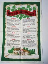 "Vintage Tea Towel ""Irish Sayings"" Crisp Linen + Cotton / Never Used"
