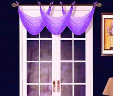 1PC K36 ELEGANT ANTIQUE GROMMET VOILE WINDOW SOLID SHEER WATERFALL SWAG VALANCE
