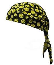 Small Print Smiley Face Yellow Black Durag Head Wrap Biker Bandanna Pirate Cap