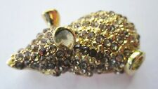 Rodent Rhinestone Encrusted Vintage Pin Brooch Rat or Mouse Gold Tone