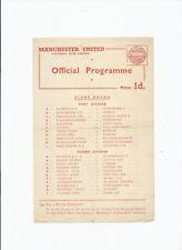 Manchester United v Newcastle Utd 7 February 1959 Reserve 's Single Sheet TOKEN