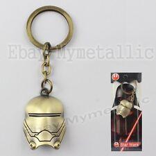 Star Wars Clone Trooper Mask Metal Pendant Key Ring Chain Gold NIB #01
