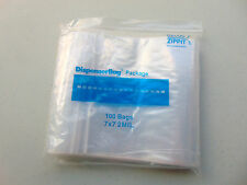 Ziplock Bags 2MIL Clear Poly 100 Pcs 7x7 Reloc Reclosable Square Bag