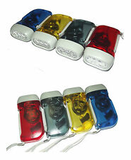 Lot de 4 Lampe Torche Dynamo 3 LED Sans Piles Rechargeable 4 Couleur 10×5×2.5 cm