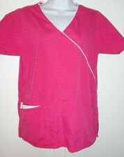 MEDICAL UNIFORM WOMEN'S SIERRA SCRUBS PINK AND WHITE TOP EUC SMALL*