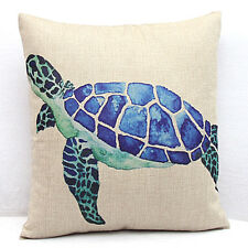 18'inches Cotton Linen Square Throw Pillow Case Cushion Cover Sea Turtles