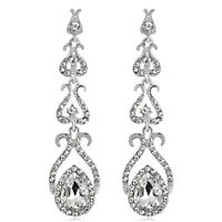 Chic Wedding Bridal Crystal Dangle White Gold Plated Rhinestones Glass Earrings