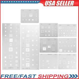 9pcs/set IC Chip BGA Reballing Stencil Kits Tin Solder Template for Samsung