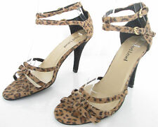 NEW RED LEVEL SIZE 5 WOMENS BEIGE ANIMAL PRINT STRAPPY ANKLE STRAPS SANDALS SHOE