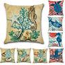Home Sofa Case Sea Cushion Beach Throw Linen Cover Ocean Cotton Pillow Decor