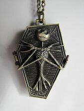 "Bronze Nightmare Before Christmas-Jack Skellington Coffin Watch on 32"" Necklace"