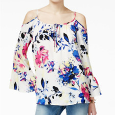 INC International Concept Open Cold Shoulder Floral Peasant Top Ruffle Sleeve 14