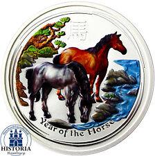 AUSTRALIE 8 Dollars Argent 2014 Lunar Série Année du Cheval 5 oz Pièce de Monnaie en couleur