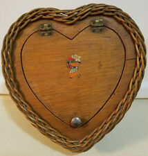 Vintage WOOD & WICKER Heart Shaped SEWING BASKET Whatnot CRAFT STORAGE Valentine