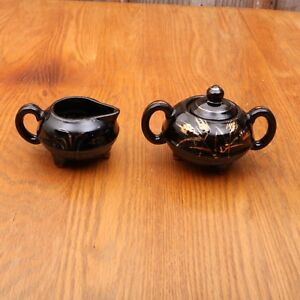 Vintage Black With Gold Lead Pattern Cream and Sugar