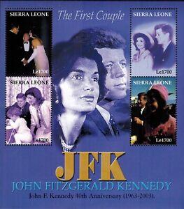 MODERN GEMS - Sierra Leone - John F. Kennedy The First Couple - Sheet of 4 - MNH