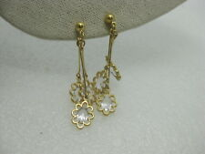 Vintage Floral Rhinestone Dangle Clip earrings, 1980's, Gold Tone, 2.25""