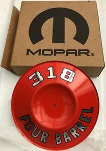 CHRYSLER VALIANT DODGE MOPAR 318 4 BRL AIR CLEANER ENGINE IDENTIFICATION PLATE