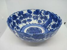 "19th Century Antique flow blue pottery 10"" footed punch / fruit bowl"