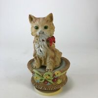 Vintage ceramic cat music box