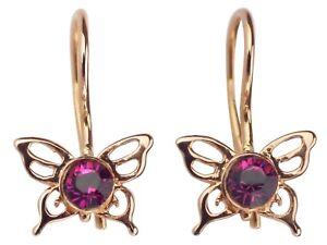 14 K 585 Rot Gold Swarovski Kristall Schmetterling Damen Ohrringe!