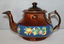 Antique Copper Lustre Ware - Teapot with Relief Moulded Floral Decoration