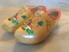 """Pair of Wooden Shoes from Holland Wood Hand Carved/Painted Windmill. Approx 10"""""""