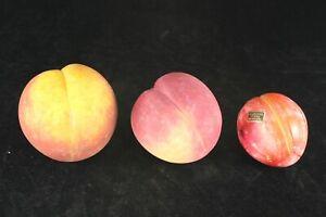 3 Pieces Italian Alabaster Stone Fruit - Peaches & Plum - Majolica Trompe L'Oeil