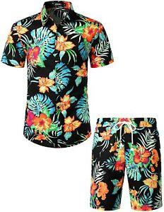 JOGAL Men's Flower Casual Button Down Short Sleeve Hawaiian Shirt Suits