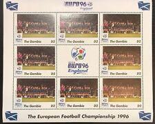 Gambia '96 Euro England Football Championship Stamp- Scotland Sheetlet of 9