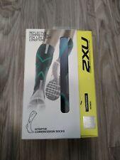 2XU Womens Hyoptik Compression Socks, Reflective, Grey/Ice Green, Sz S $55 New