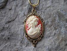 VICTORIAN WOMAN PORTRAIT CAMEO ANTIQUED GOLD PLATED NECKLACE -UNIQUE - CARNELIAN