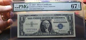 Fr.1619 $1 1957 Silver Certificate GA Block PMG Superb GEM 67 EPQ