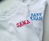 PERSONALISED funky babygrow, sleepsuit  with ANY NAME on the front & back
