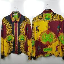 Vintage Gianni Versace Escrime Women's Shirt Silk Multicolored Super Rare Italy