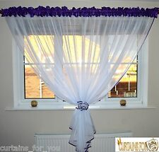 READY MADE NET CURTAINS VOILE TAFFETA FLOWERS TIE BACK 8 COLOURS AMAZING FOR YOU