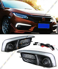 FOR 2016-17 HONDA CIVIC X SEDAN & COUPE FOG LIGHT BEZEL COVER W/ WHITE LED DRL