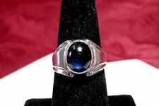 925 STERLING SILVER BLUE OVAL CABOCHON STONE RING SIZE 7