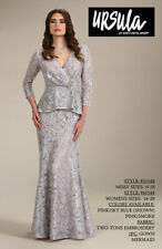 WAS $428.00 NWT! URSULA OF SWITZERLAND MISSY 3/4 SLEEVE LACE FORMAL GOWN Sz 18