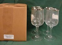 Lenox Crystal DESIRE Water Goble Stems (4) SET OF FOUR NEW in BOX! Platinum Trim