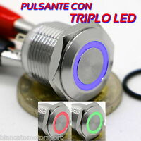 PULSANTE 16mm ANELLO LED 3 COLORI ROSSO VERDE BLU MONOSTABILE IN ACCIAIO INOX