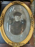 Antique Oval Bubble Glass Framed Military Male