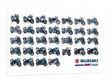 1985 - 2016 Suzuki GSXR-750 - 30x20 Inch Canvas - Framed Picture Poster Print