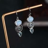Silver Moonstone Turquoise Ear Stud Hook Dangle Wedding Jewelry Earrings New